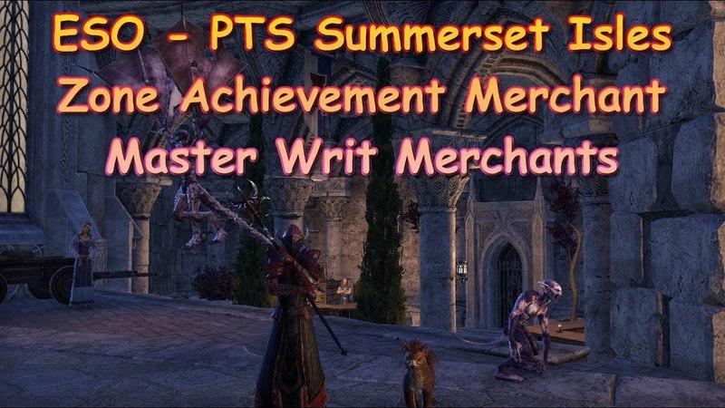 ESO Summerset Isles Achievement Vendors and Master Writ Merchants