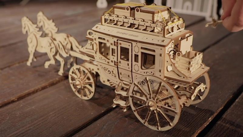 Сборная механическая модель-конструктор Почтовый дилижанс от UGEARS