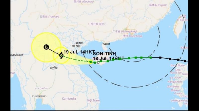 Тайфун SON-TINH прошел Санья, остров Хайнань, Китай и движется на Вьетнам