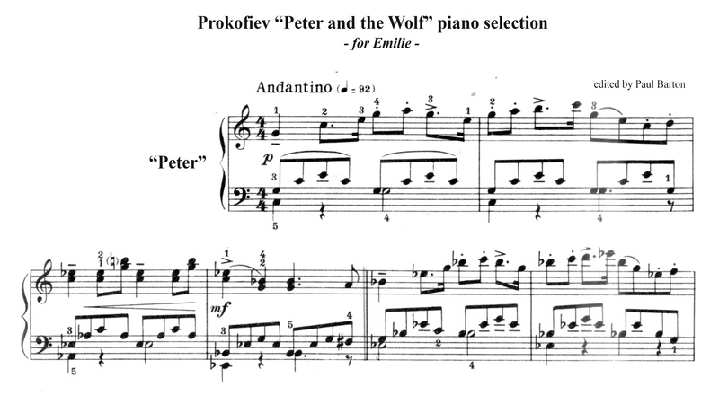 Prokofiev Peter and the Wolf PIANO selection FREE SHEET MUSIC
