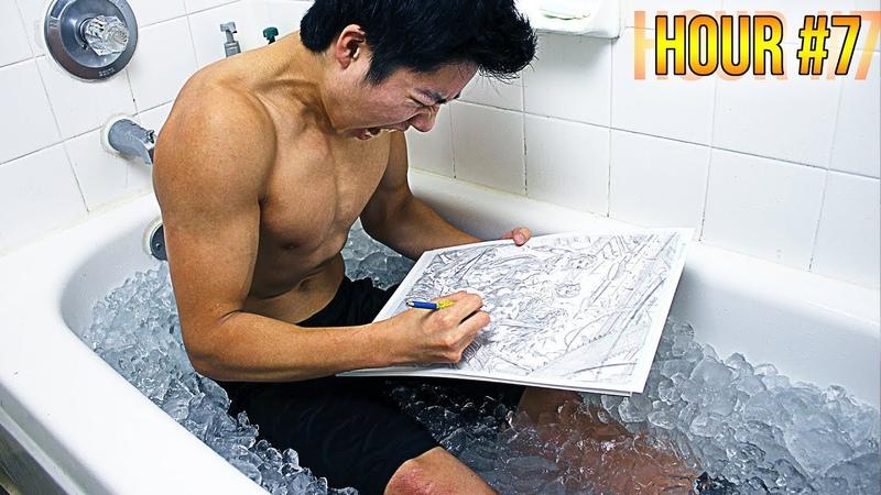 ICE BATH ART CHALLENGE!! - 7 Hours Straight (HUGE MISTAKE!)