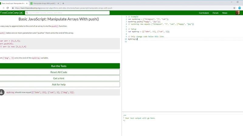41 107 FCC Basic JavaScript Manipulate Arrays With push