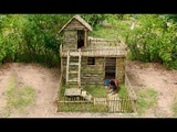 Building Most Beautiful House Villa In the Deep Forest