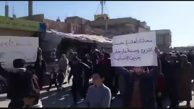 Протесты недалеко от Ракка против Асада.