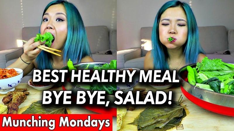 KOREAN WRAPS MUKBANG (lettuce, collard greens, etc...) Munching Mondays Ep.2
