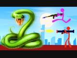 Coffi Channel 999.999 ЗМЕЙ VS 4 ЧЕЛОВЕКА! ПОЧЕМУ ИХ ТАК МНОГО БИТВА НА САМОМ СМЕРТЕЛЬНОМ ЛАЗЕРЕ В STICK FIGHT