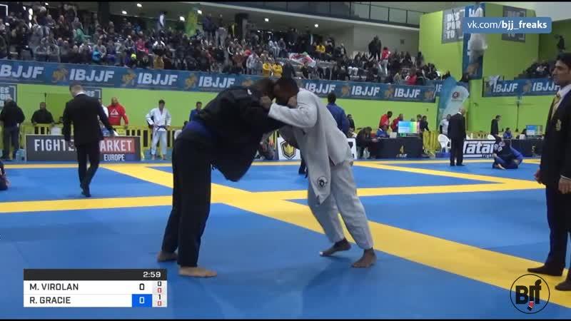 MIKE VIROLAN vs RAYRON GRACIE 2019 European Jiu Jitsu IBJJF IBJJFEURO19
