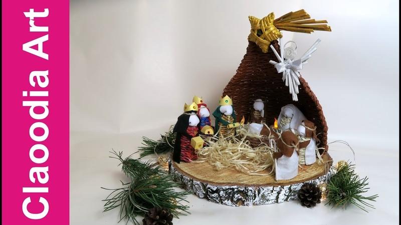 Szopka Bożonarodzeniowa z papierowej wikliny i filcu DIY Christmas crib paper wicker felt