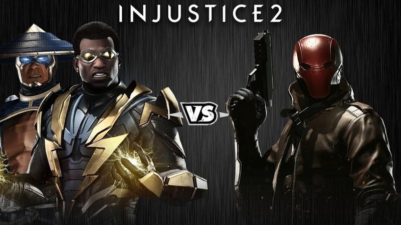 Injustice 2 Рейден и Чёрная Молния против Красного Колпака Intros Clashes rus