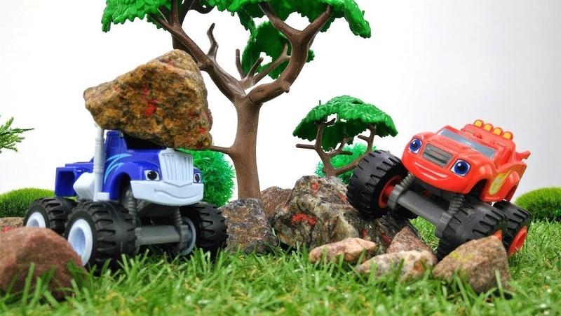 Blaze e Crusher fanno una gara delle macchine. Giochi per bambini