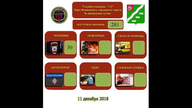 Статистика обращений в службу 112 за последние сутки
