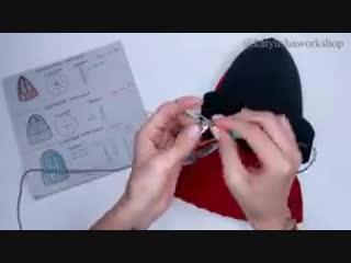 Как связать шапку резинкой.