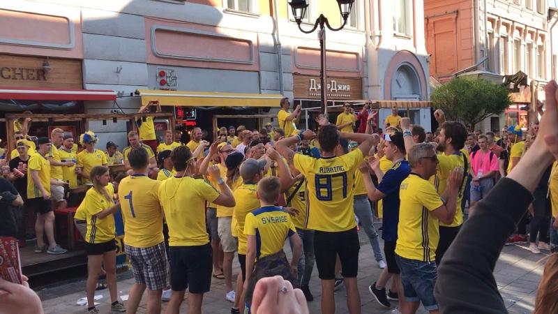 Болельщики Швеции благодарят Россию 😊⚽️🇸🇪🤝🎉 Это круто!