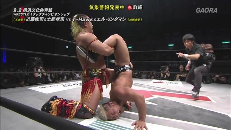 Koji Doi, Shuji Kondo (c) vs. El Lindaman, T-Hawk (WRESTLE-1 - Pro-Wrestling Love 2018 in Yokohama)