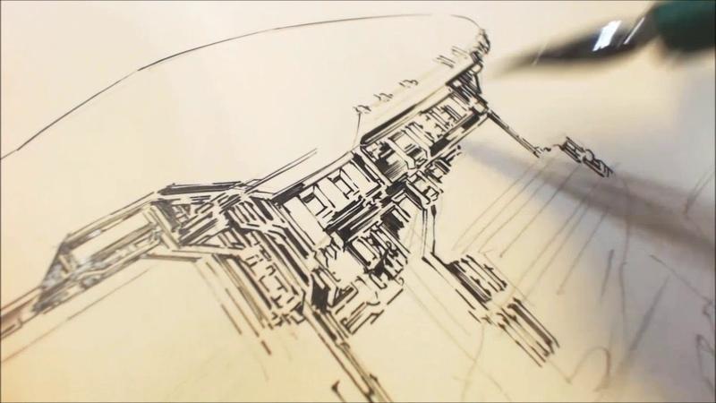 作画風景09 襲撃される飛空艇団 EAT-MAN 18 20_21P 下描き・ペン入れ
