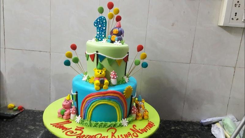 Amazing Animals step Birthday cake pineapple flower fancy cake making by New Cake Wala