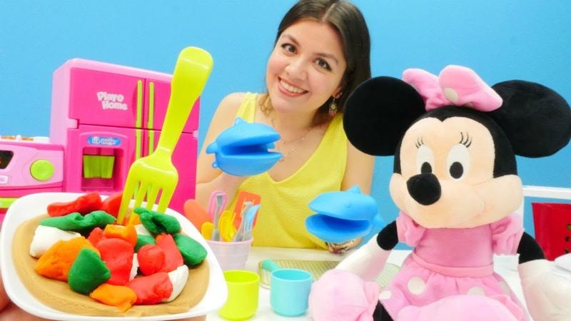 Hamur oyunu. Minnie Mouse için sebzeli pizza yapıyoruz!
