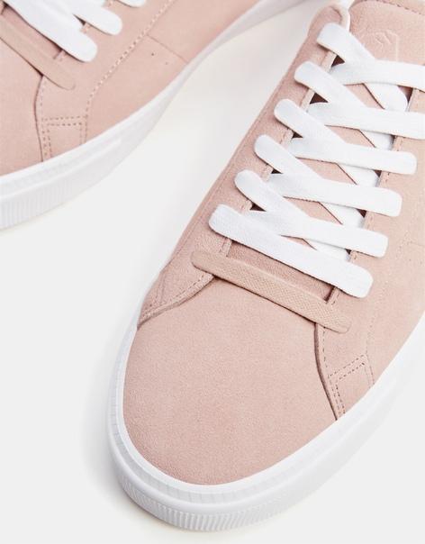 Кожаные кеды розового цвета