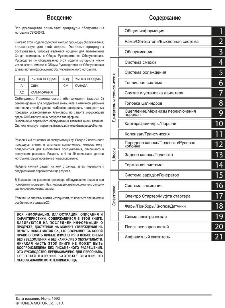 сервисный мануал на Honda CBR600f2 (1991-1994)