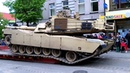 Loading M1A2 (Abrams) Main Battle Tank on Platform in Šiauliai City Centre