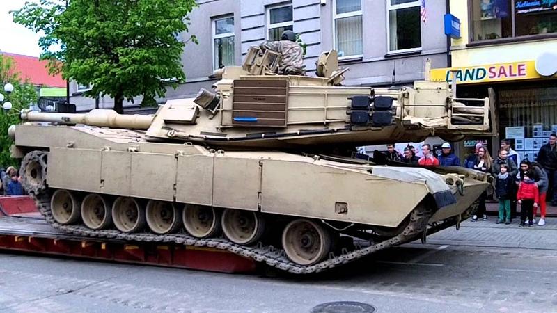 Loading M1A2 Abrams Main Battle Tank on Platform in Šiauliai City Centre
