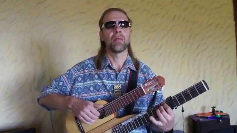 Cool double neck acoustic guitar, Progressive, fusion русский гитарист Andrei Krylov, weird guitar