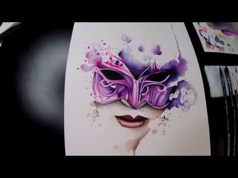 Venetian mask watercolor painting [no speed paint]