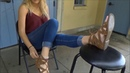 Blonde with 9 5 feet takes sandals off her plump soles and wiggles her toes