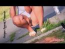 В парке засветила свои прозрачные трусы под юбкой