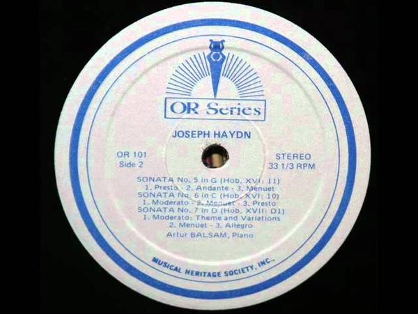 Haydn Artur Balsam, 1968 Piano Sonata No. 5 in G, Hob. XVI11