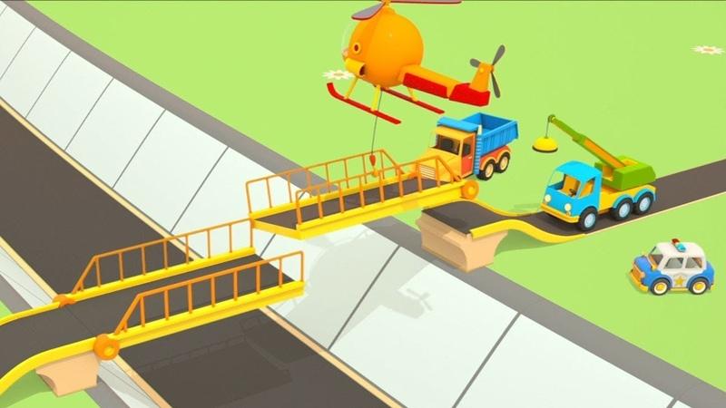 I veicoli da lavoro ed il ponte levatoio! - Cartoni animati per bambini