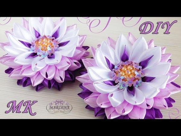 🌺 Цветы из узких лент с красивой серединкой. Канзаши МКDIY 👐