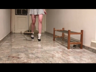 Bupshi - floor cleaning in frilly socks and vintage stiletto heels