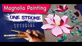 How to draw, color a Pink Magnolia flower in acrylic ONE STROKE Tutorial