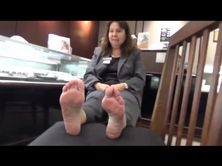 57 year old mature business woman candid soles