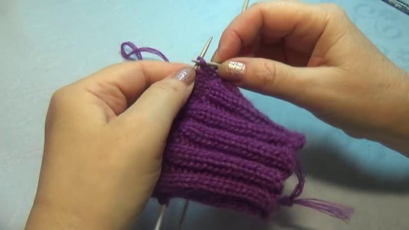 Вязание спицами . Домашние тапки Носки с пяткой бумеранг