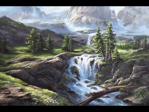 Sunlit Mountain Waterfall | Oil Painting Landscape Demo
