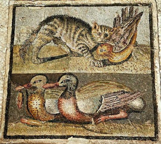 Кот ловит утку, Древнеримская мозаика, Первый век до нашей эры.