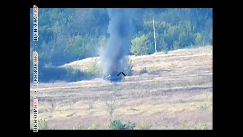 Хороший получился фейерверк, - украинские бойцы уничтожили установленную на КамАЗе зенитную установку террористов
