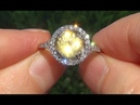 HGT Certified VS Natural UNHEATED Yellow Sapphire Diamond 14k Gold Engagement Ring - C767