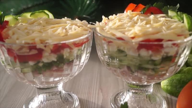 Салат-коктейль с ветчиной и сыром _ Простой салат к праздничному столу