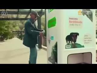 Аппарат выдает корм в обмен на бутылки