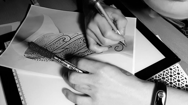 Estetic ornamental tattoo for IVAN LEONOV
