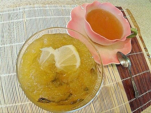 Яблочный джем с мятой и лимоном в микроволновке.