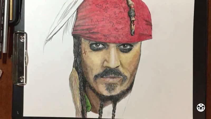 Рисунок цветными карандашами, Пираты Карибского моря, Капитан Джек Воробей
