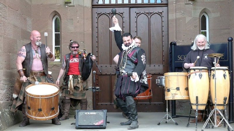 Scottish tribal band Clann An Drumma joined by Blackadder character at Scone Palace May 2019
