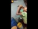 Child swallows fish