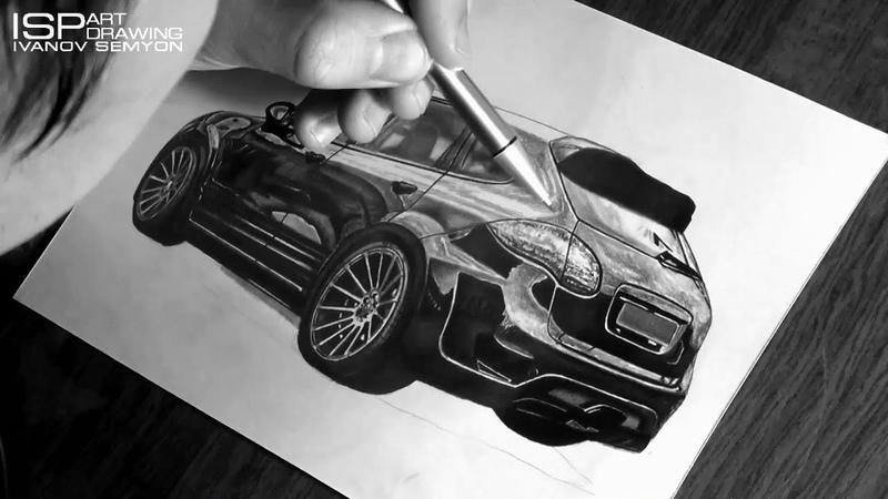 Mini Drawing PORSCHE CAYENNE (Hamann Widebody Tuning) - Graphite pencils