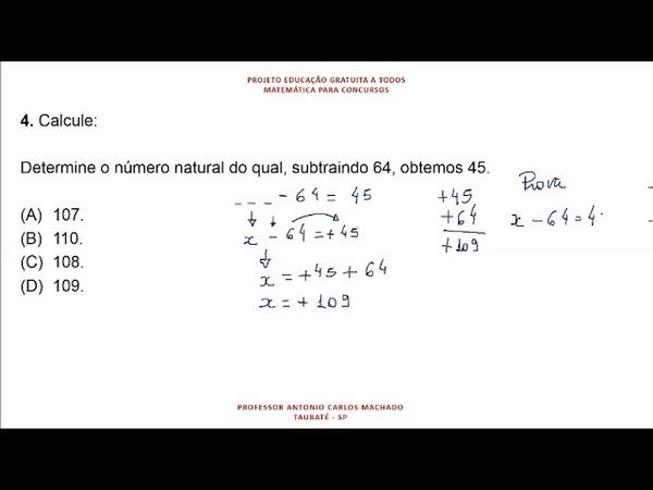 Cálculo Valor Desconhecido Questão 4 Matemática