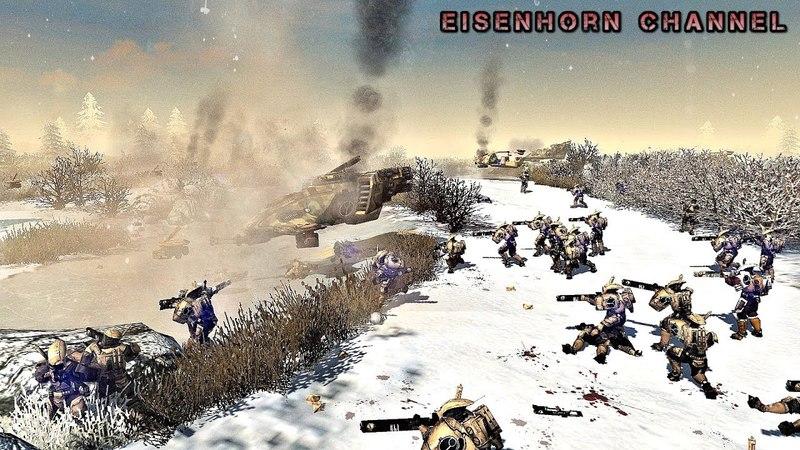 Ultimate Mod Warhammer 40k Men of War 2 - EPIC MASSIVE BATTLE! - Empire Tau vs Soviet Army